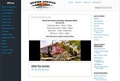 Adams County home page - a lot of content displayed efficiently and intuitively